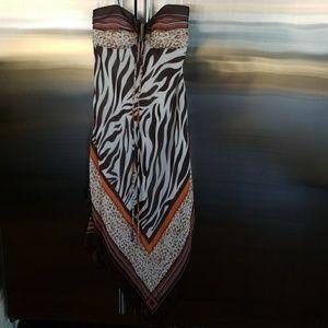 NWOT BCBG strapless silk scarf print dress 2